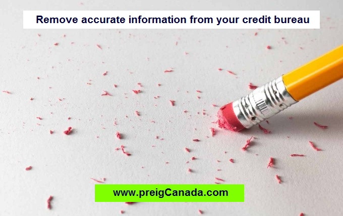 Remove accurate information from your credit bureau, increase your credit score, improve your credit score