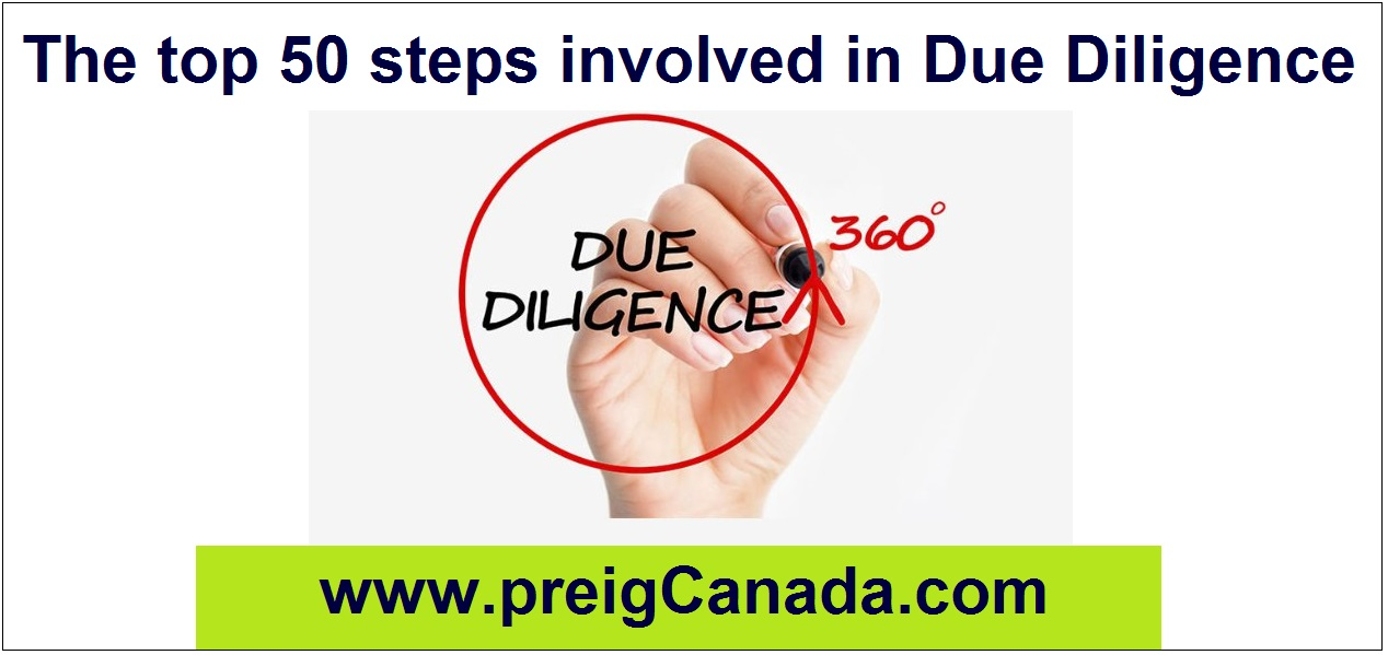 The top 50 steps involved in Due Diligence