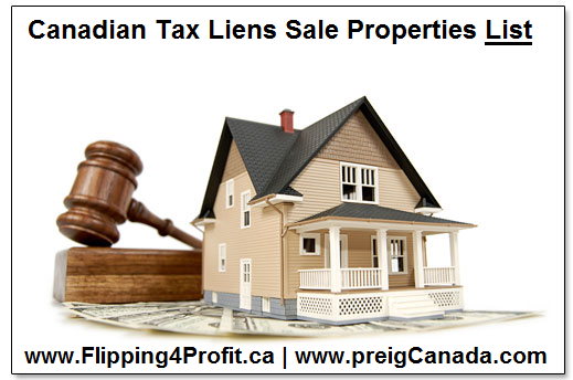 Canadian Tax Liens Sale Properties